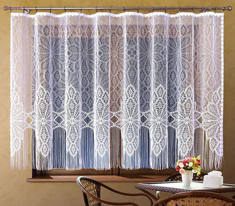 White Jardiniere Net Curtain with Strings 300x160cm - Amazing Curtains