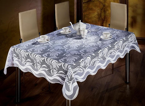 White Jacquard Tablecloth 130 x 180cm