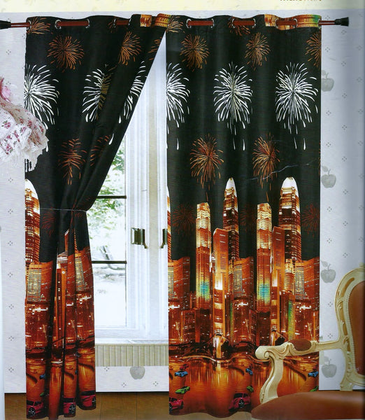 Pair Of Amazing 3d Curtains Ready Made Paris London Roses Tigers Ebay