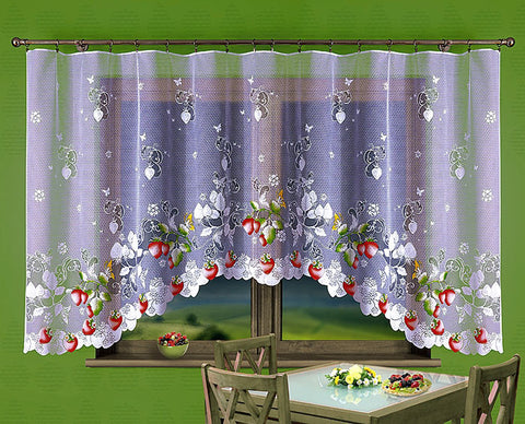 Jardiniere Net Curtain with Strawberries 300 x 150cm