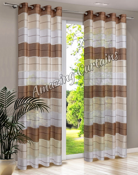 Pair Ready Made Striped Curtains Amazingcurtains