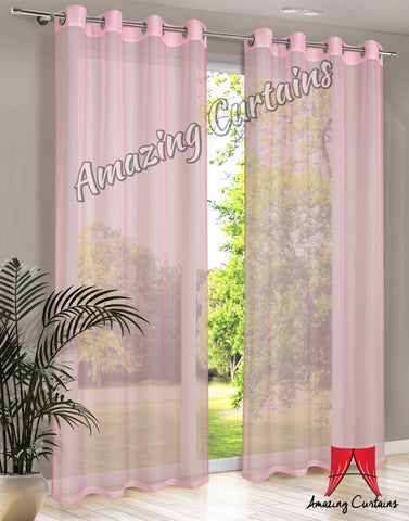 Plain Voile Curtain Panel - Pink - AmazingCurtains