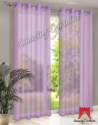Plain Voile Curtain Panel - Purple - Amazing Curtains