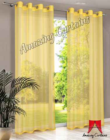 Plain Voile Curtain Panel - Yellow - AmazingCurtains