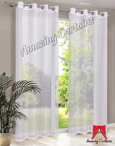 Plain Voile Curtain Panel - White - AmazingCurtains