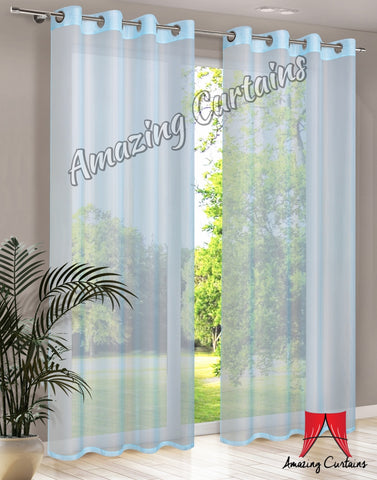 Plain Voile Curtain Panel - Blue - Amazing Curtains