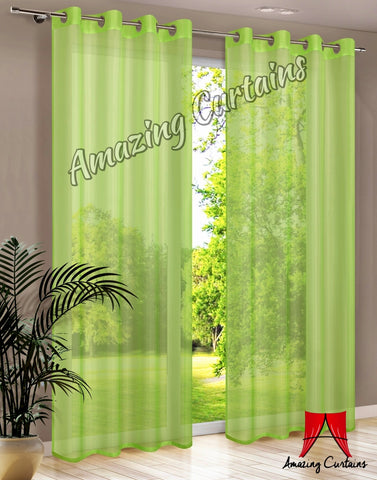 Plain Voile Curtain Panel - Green - Amazing Curtains
