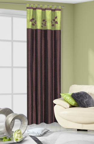 Pair of Brown/Green Curtains with Floral Pattern - Amazing Curtains
