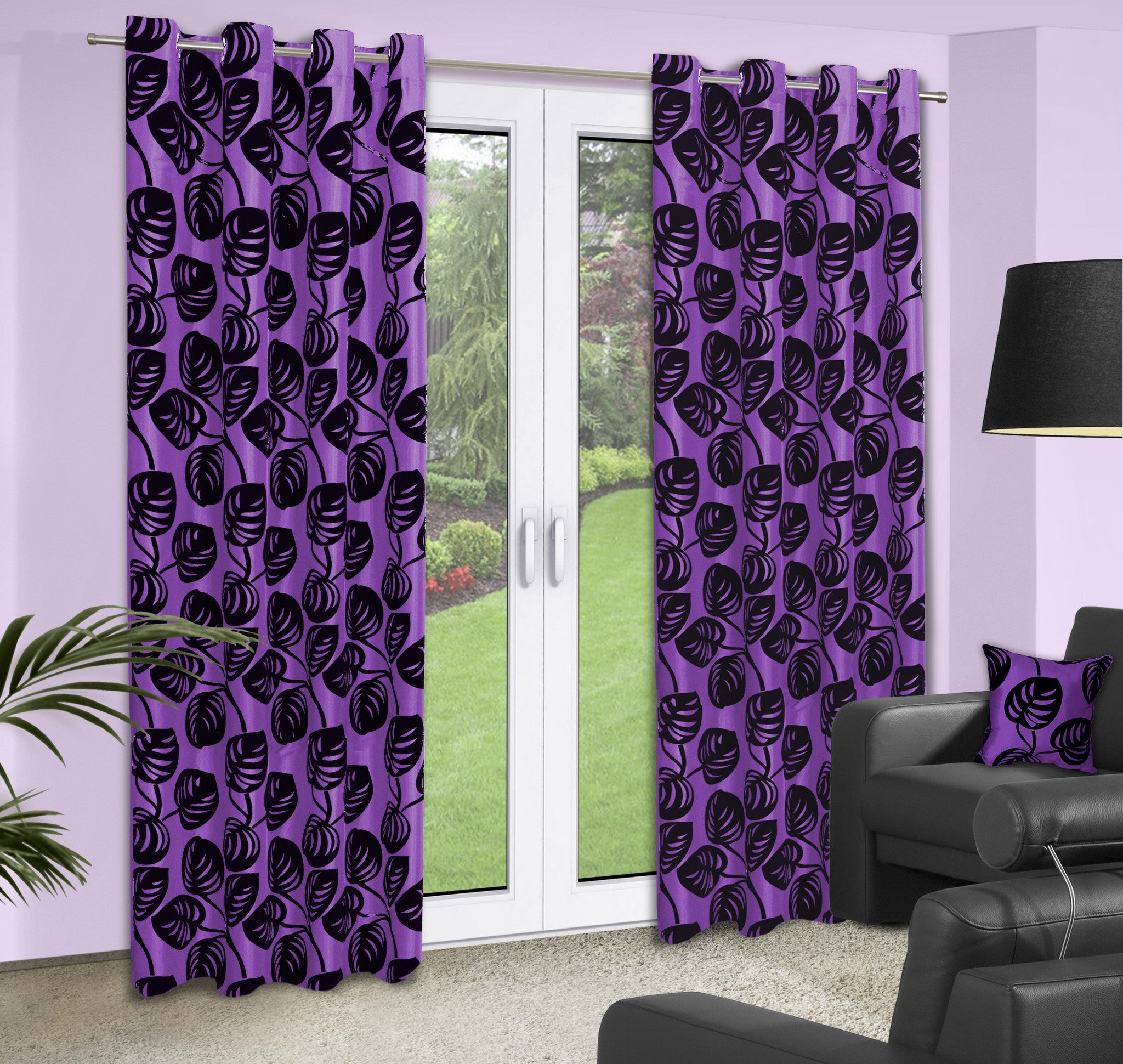 Purple Curtains With Leaves Pattern