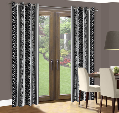 Grey/Black Curtains with Leaves Pattern - Amazing Curtains