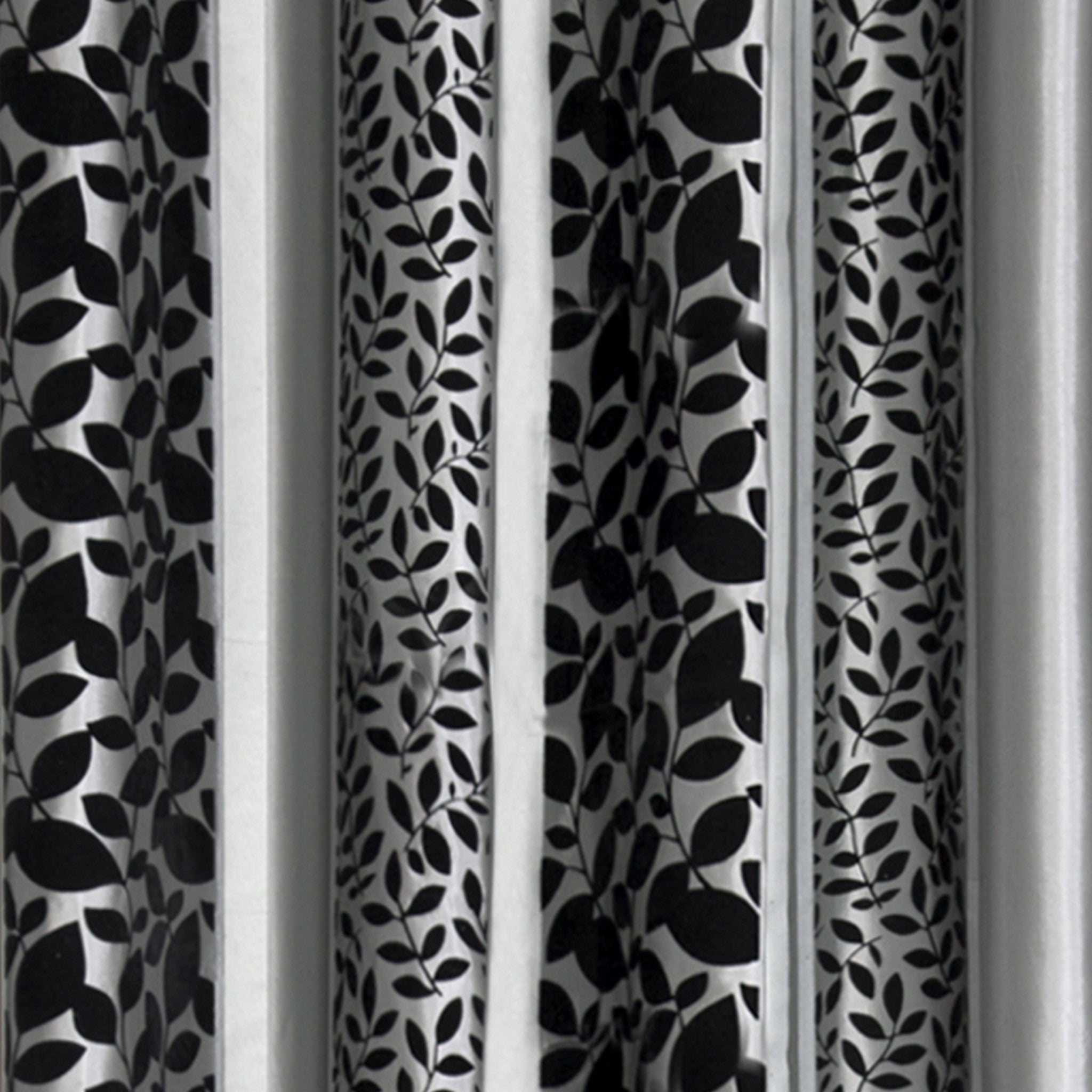 Grey Black Curtains With Leaves Pattern