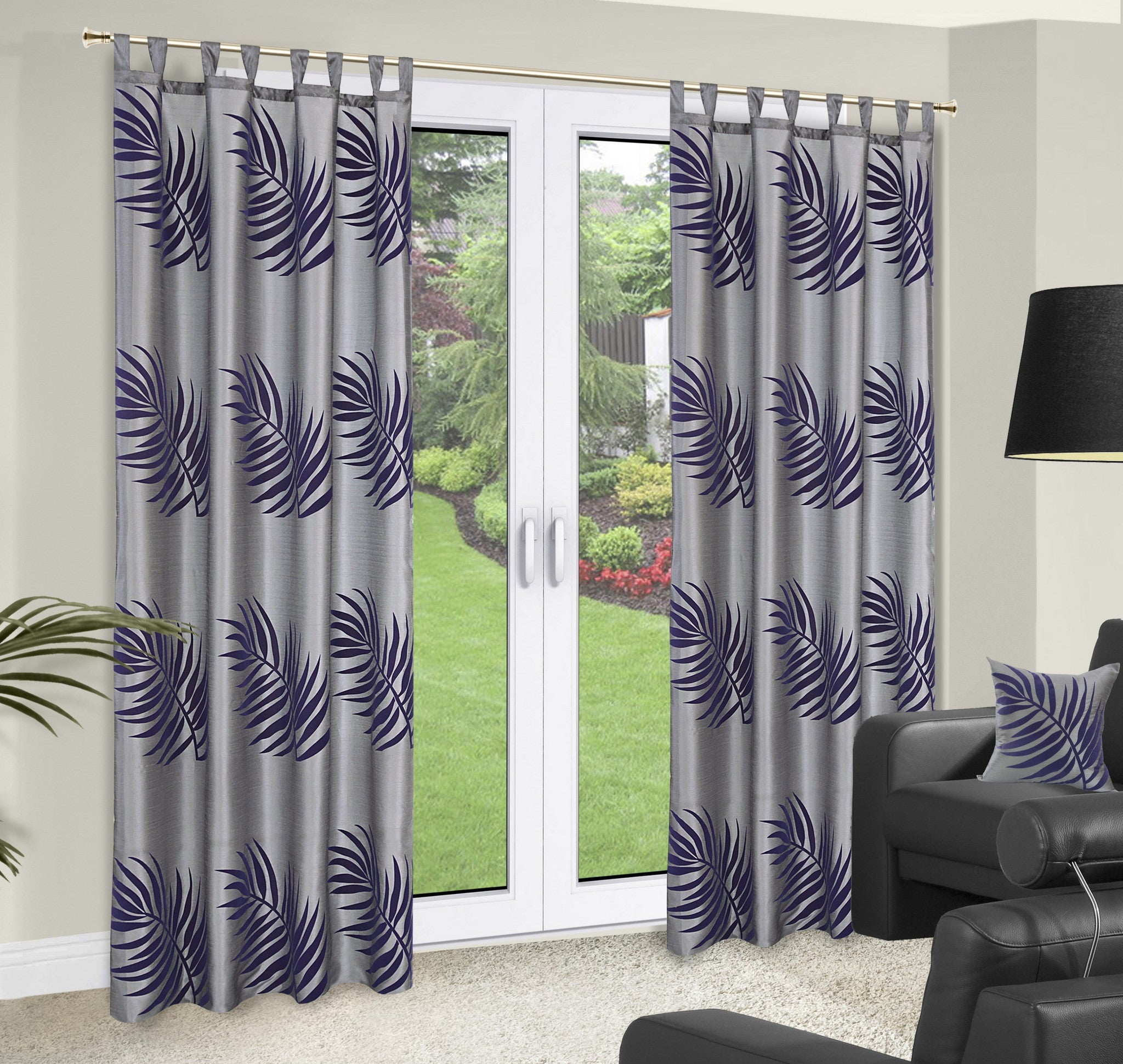 Grey Curtains With Purple Pattern