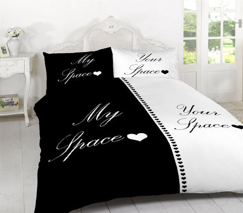My Space Your Space Bedding Set Black/White