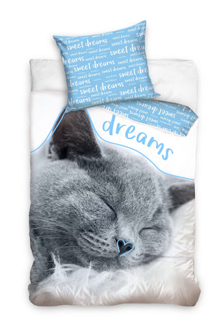 Single Bedding Set with Cat - Blue