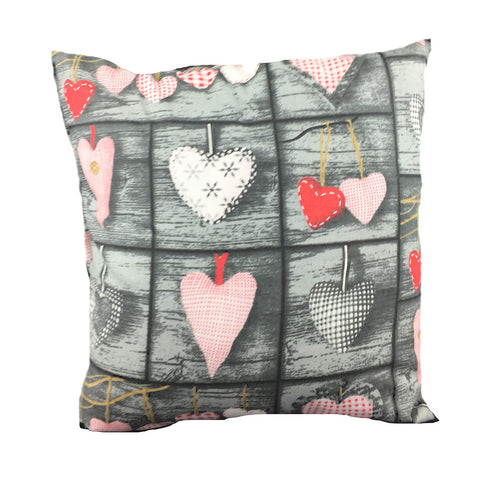 Grey Cushion Cover with Pink Hearts - Amazing Curtains