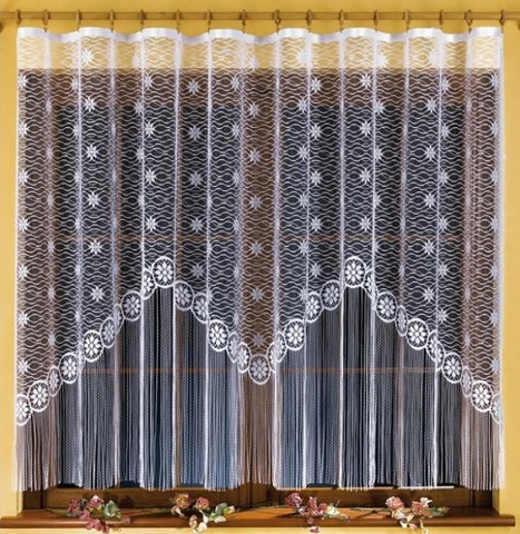 White Jardiniere Net Curtain with Strings 300 x 160cm - Amazing Curtains