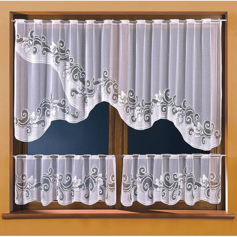 Set of 3 Pcs White Jardiniere Kitchen Curtains