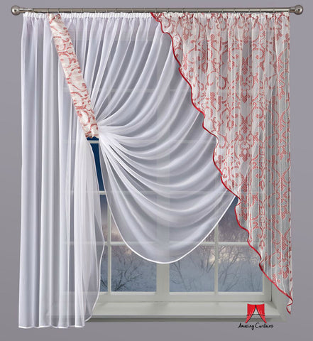 Amazing Voile Net Curtain Liryka/Red - 300 x 170cm - Amazing Curtains