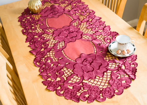 Burgundy Tablecloth Oval 60 x 120cm - Amazing Curtains