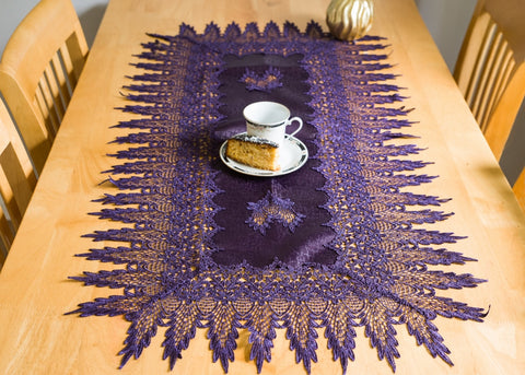 Purple Tablecloth with Lace 60 x 120cm - Amazing Curtains