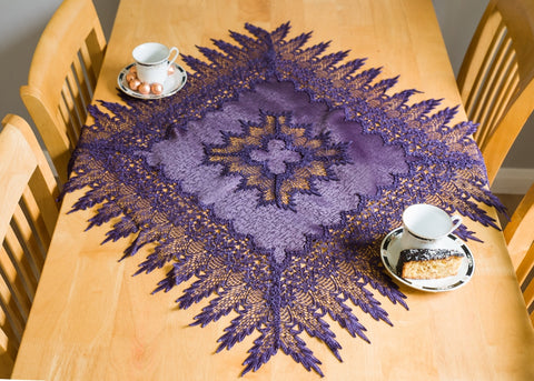 Purple Square Tablecloth with Lace - Amazing Curtains
