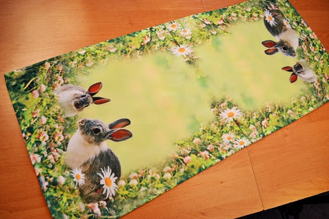 Green Easter Table Runner with Bunnies - 40 x 90cm - Amazing Curtains