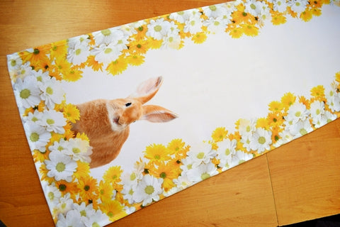 White Easter Table Runner with Bunnies 40 x 140cm - Amazing Curtains