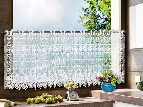 White Cafe Net Curtains with Lace - Amazing Curtains