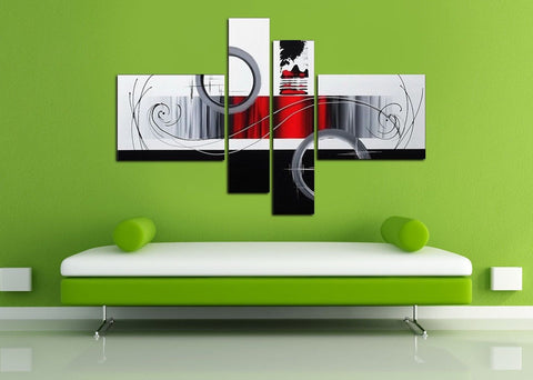 Framed Large Abstract Multi Picture Panels