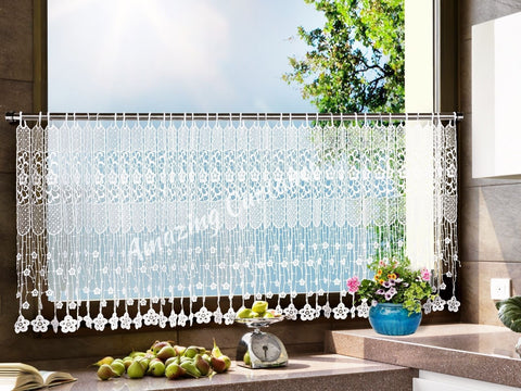 White Kitchen Net Curtains with Lace - AmazingCurtains