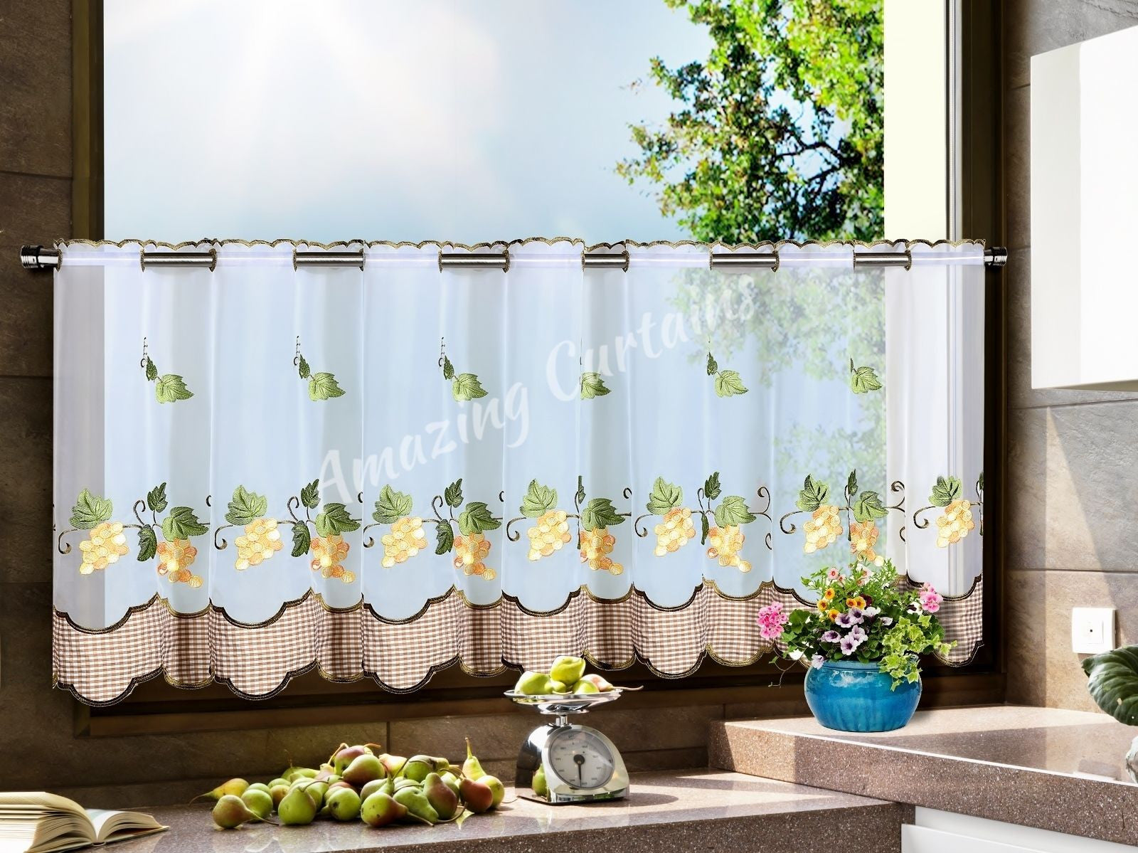 Kitchen cafe curtain patterns - Kitchen Cafe Curtain With Grapes Pattern Amazingcurtains