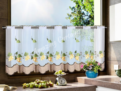 Kitchen Cafe Curtain with Grapes pattern - Amazing Curtains