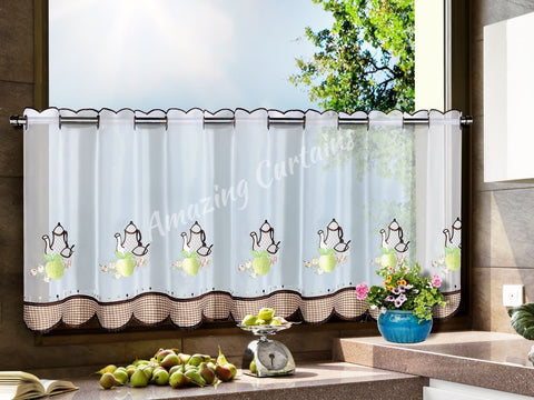 Kitchen Cafe Curtain with Tea Pots - Brown - Amazing Curtains