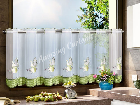 Kitchen Cafe Curtain with Tea Pots - Green - Amazing Curtains