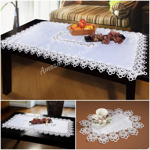 Elegant White Tablecloths with Lace - AmazingCurtains