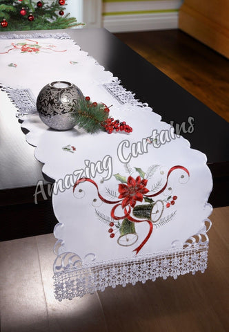 White Christmas Table Runner with Lace 40 x 160cm