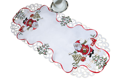 White Christmas Tablecloth with Santa Pattern - Amazing Curtains