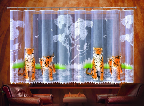 "Jardiniere Net Curtain ""TIGERS"" - Amazing Curtains"