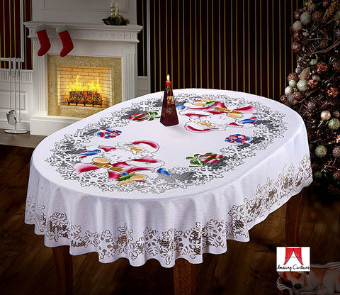 Large White Christmas Tablecloth - Santa Pattern