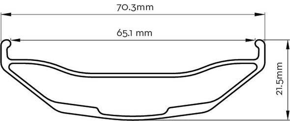 Lithic Carbon Fat Rims cross section illustration 70.3mm x 21.5mm