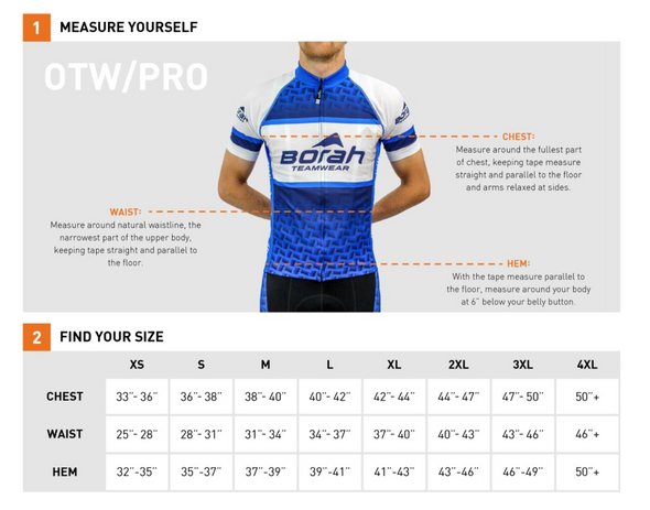 Sizing chart for winter riding jacket