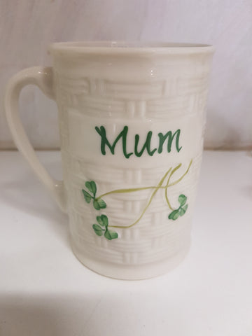 BELLEEK MUM OR DAD COFFEE MUG
