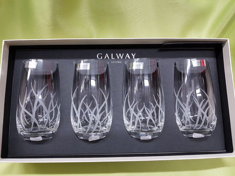 "GALWAY CRYSTAL ""FIRE"" HIGHBALL GLASSES"