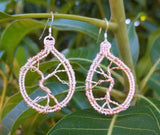 Argentium sterling silver and rose gold tree of life earrings