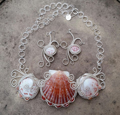 wire wrapped shell statement necklace and eye of Horus earrings
