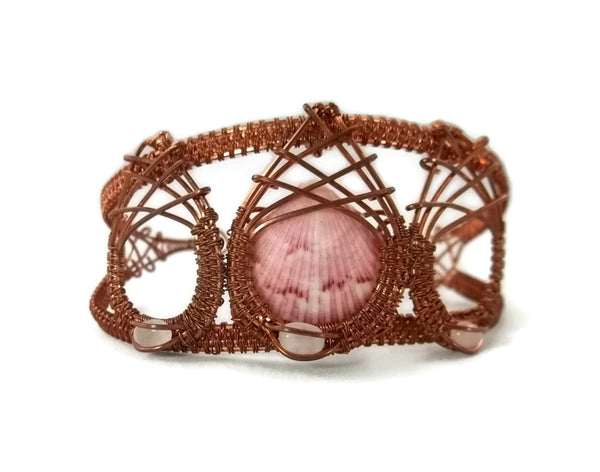 oxidized raw copper mini shell drop cuff bracelet with rose quartz