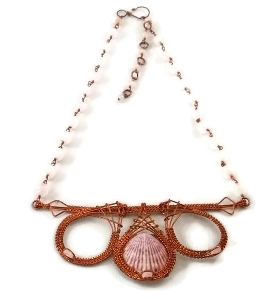 oxidized raw copper shell drop bar statement necklace with rose quartz