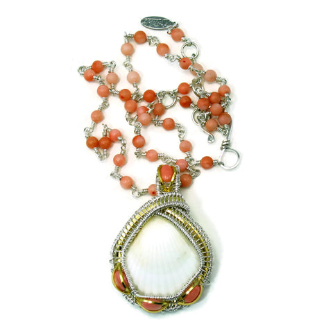 Coral Gemstone Chain with Small Pink Coral Pendant Gift Set