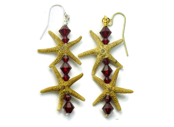Double Starfish Bar Earrings