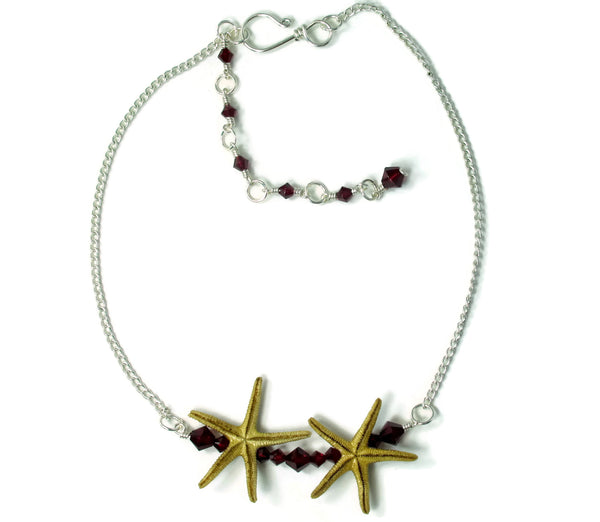 Double Starfish Bar Choker Necklace